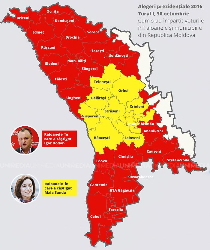 HARTĂ: Cum s-a votat în țară. În ce raioane conduce Maia Sandu și în care Igor Dodon a acumulat cele mai multe voturi