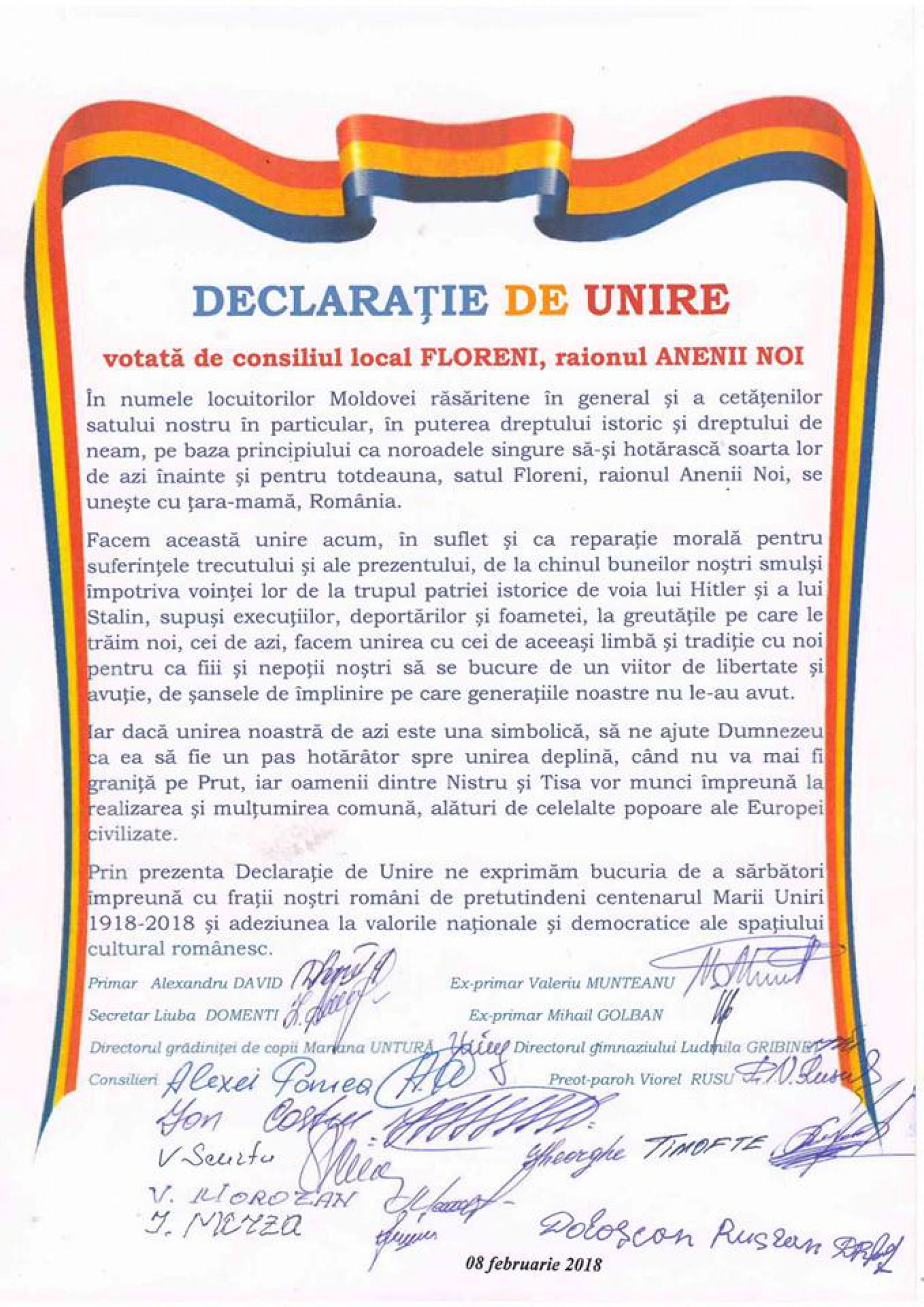 (update) Încă trei localități au semnat simbolic Declarația de Unire cu România