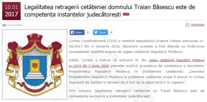 CCM: Legalitatea retragerii cetăţeniei lui Traian Băsescu este de competenţa instanţelor judecătorești