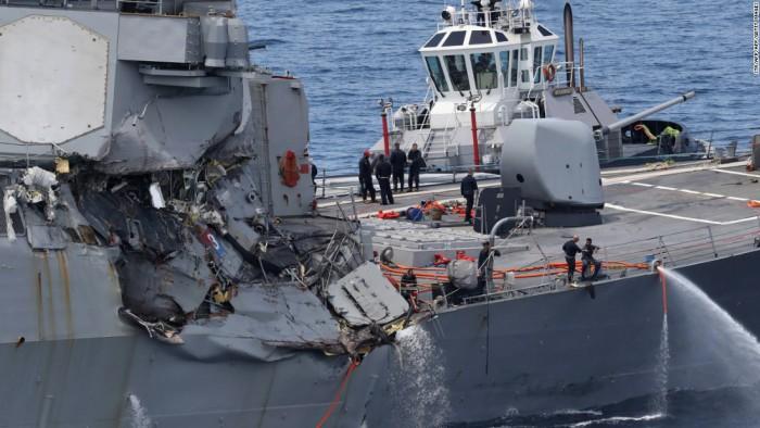 Cei șapte marinari americani dați dispăruți după ce distrugătorul american Fitzgerald a lovit un cargo filipinez, găsiți morți