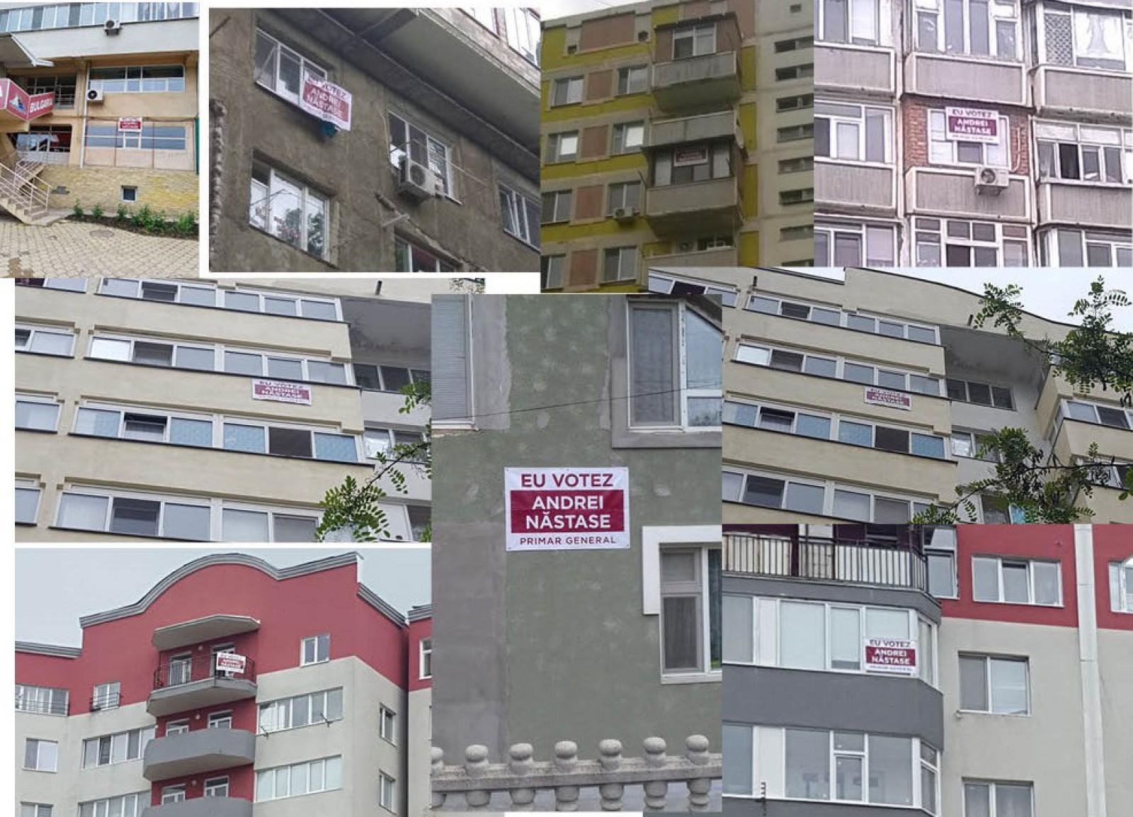 """""""Eu votez Andrei Năstase"""". Simpatizanții lui Andrei Năstase au început să-și decoreze balcoanele cu bannere pentru candidatul lor preferat"""