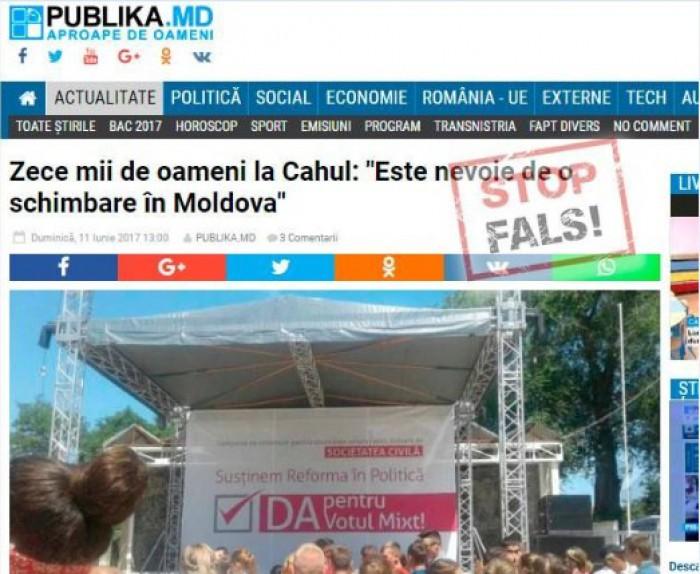 FALS: Peste zece mii de persoane au participat la mitingul din 11 iunie de la Cahul