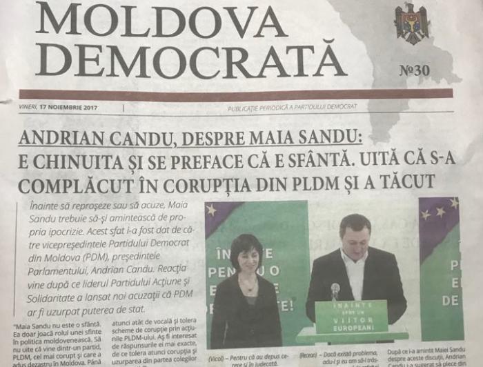 (foto) A început campania anti-Maia Sandu la PD? Oficiosul democraților publică pe prima pagină declarațiile lui Candu