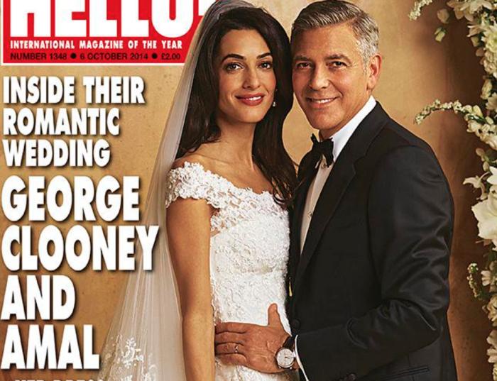 (foto) Amal Clooney și-a arătat rochia de mireasă pentru revista Hello. A fost una din ultimele rochii create de designerul Oscar de la Renta