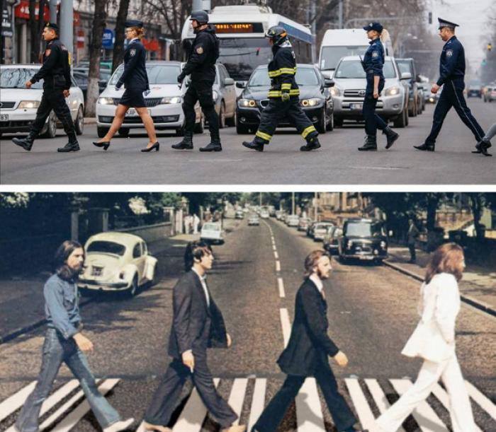 """(foto) Ministerul Afacerilor Interne, într-o imagine spectaculoasă. Au imitat legendara trupă """"The Beatles"""""""