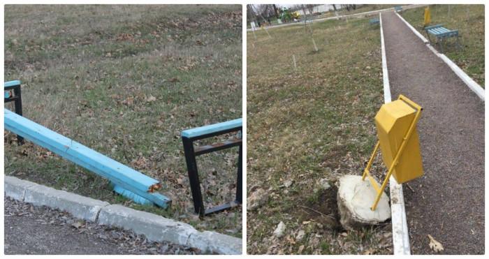 (foto) Parcul din Căușeni, vandalizat: Mai multe bănci și coșuri de gunoi, distruse