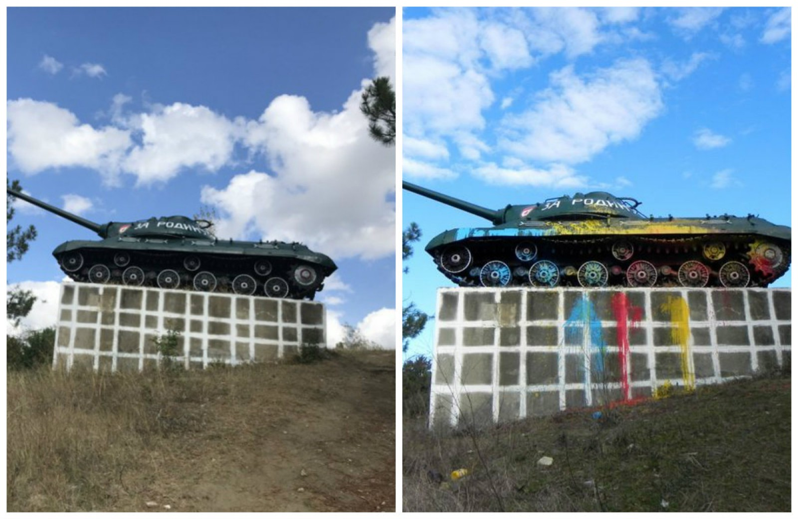 (foto) Tricolor pe tancul de la Cornești! Cum arată acum blindata din centrul Moldovei