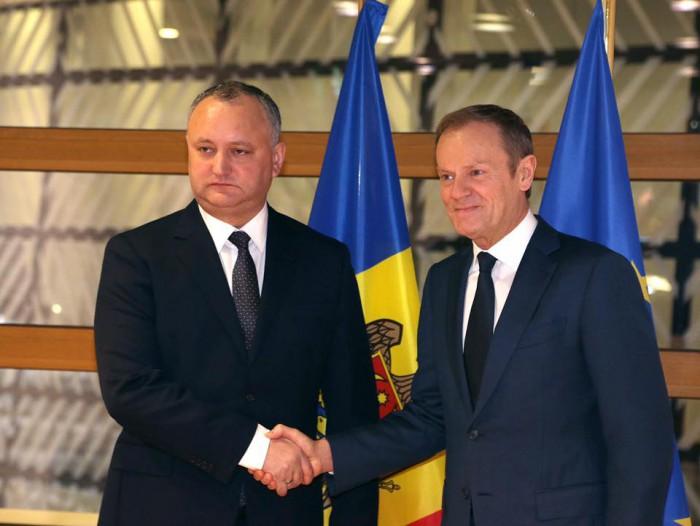 Igor Dodon către Donald Tusk: Reformele la Chișinău sunt mimate