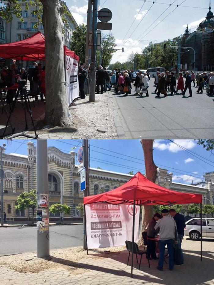 Imaginea zilei: Unde au dispărut semnatarii împotriva lui Chirtoacă? Cortul PSRM a rămas doar cu un susținător