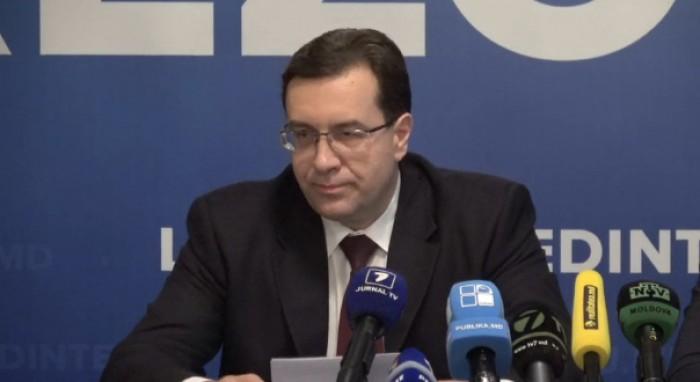 Briefing susținut de președintele Partidului Democrat din Moldova, Marian Lupu alături de Vlad Plahotniuc