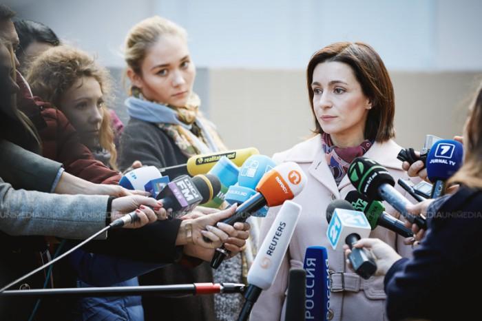 """(video/update) Maia Sandu face declarații de presă privind constituirea circumscripțiilor: Au """"croit"""" circumscripții pe măsura lui Plahotniuc și Dodon"""