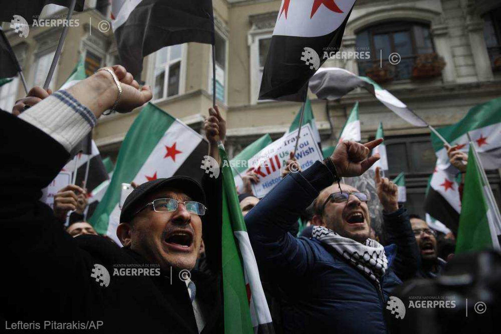 """Mii de sirieni sărbătoresc la Damasc """"victoria"""" în Ghouta Orientală, în ajunul Zilei Naţionale a ţării"""