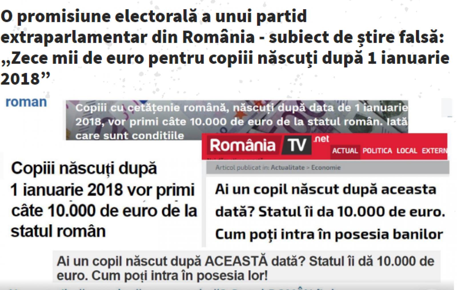 """Stop Fals: O promisiune electorală a unui partid extraparlamentar - subiect de știre falsă: """"Zece mii de euro pentru copiii născuți după 1 ianuarie 2018"""""""