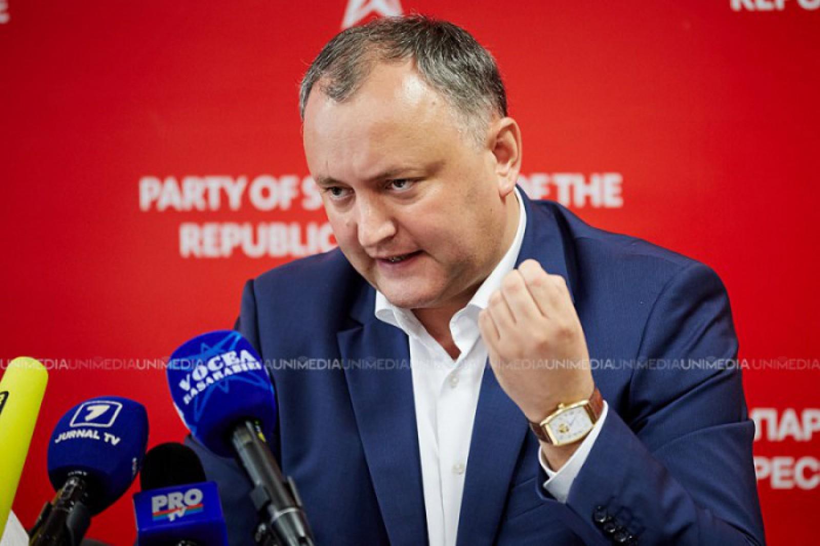 """Reacția lui Igor Dodon despre susținerea Guvernului de a introduce aspirațiile europene în Constituție: """"Voi bloca realizarea acestei iniţiative"""""""