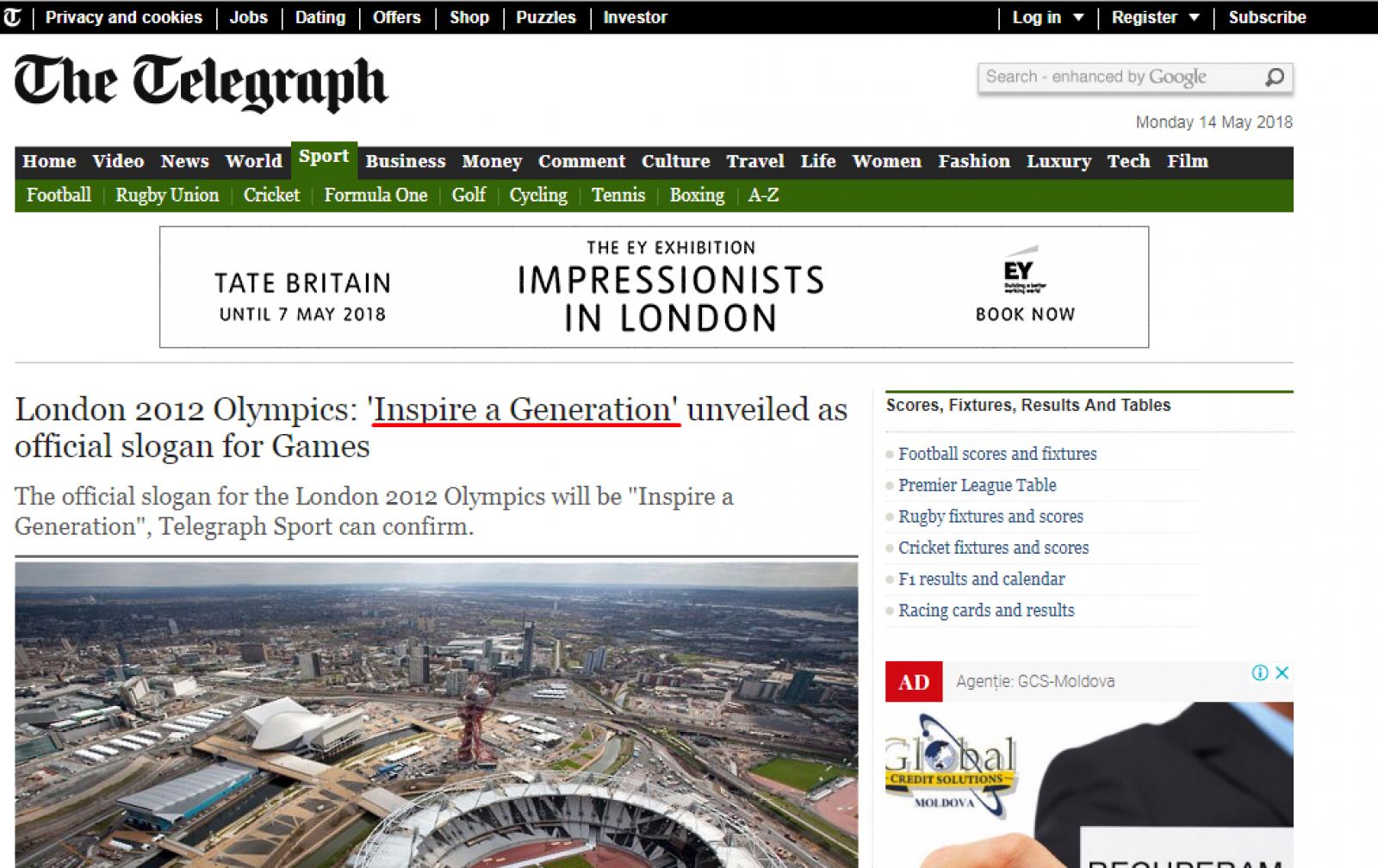 """Arena """"copy-paste"""" Chișinău. Noul slogan ales prin concurs este de fapt, cel al Jocurilor Olimpice de la Londra din 2012"""
