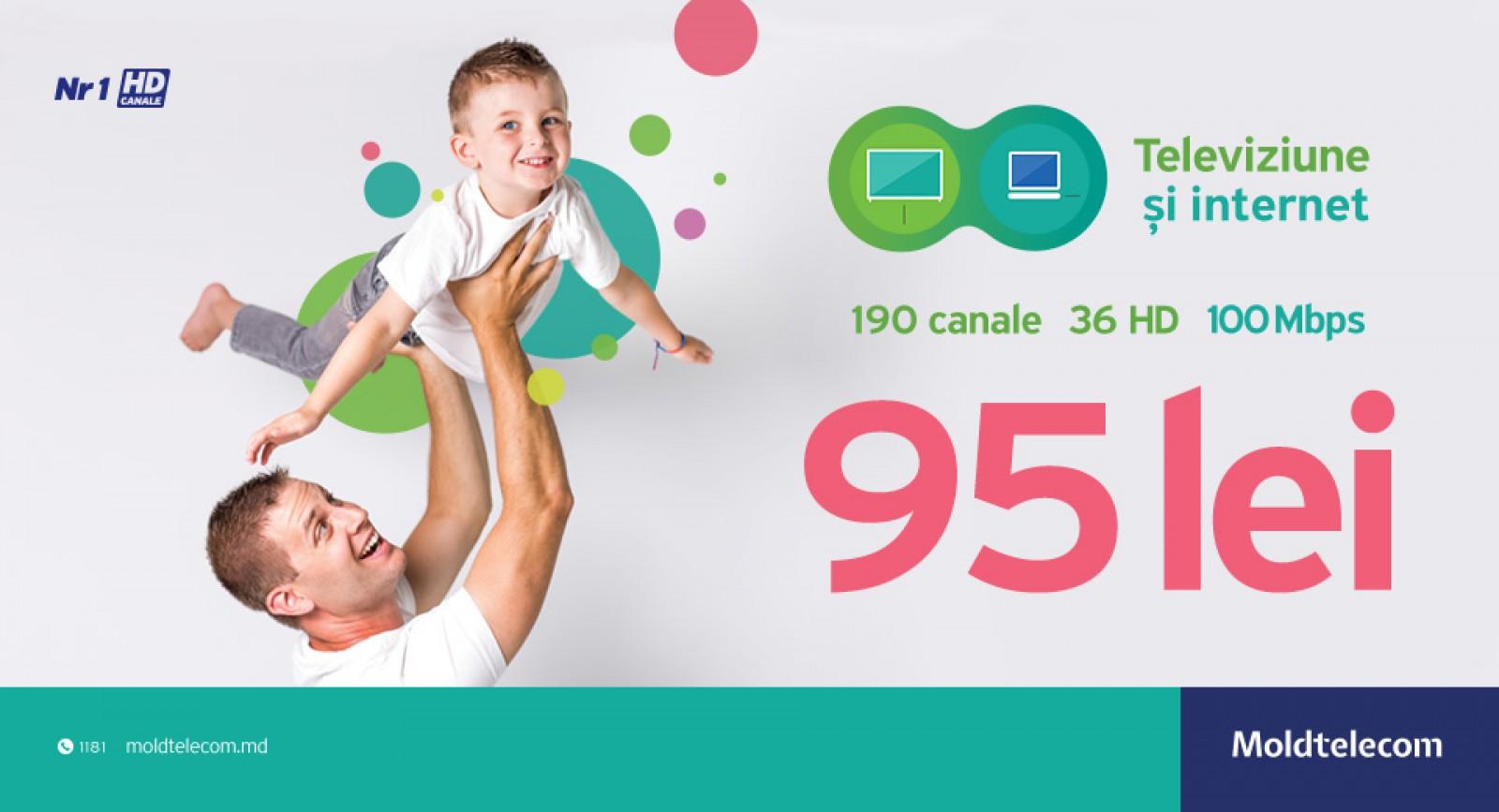 Televiziune digitală Moldtelecom cu cele mai multe canale HD şi Internet fix la viteză de 100 Mbps la doar 95 lei/lună pentru primele 6 luni de la conectare