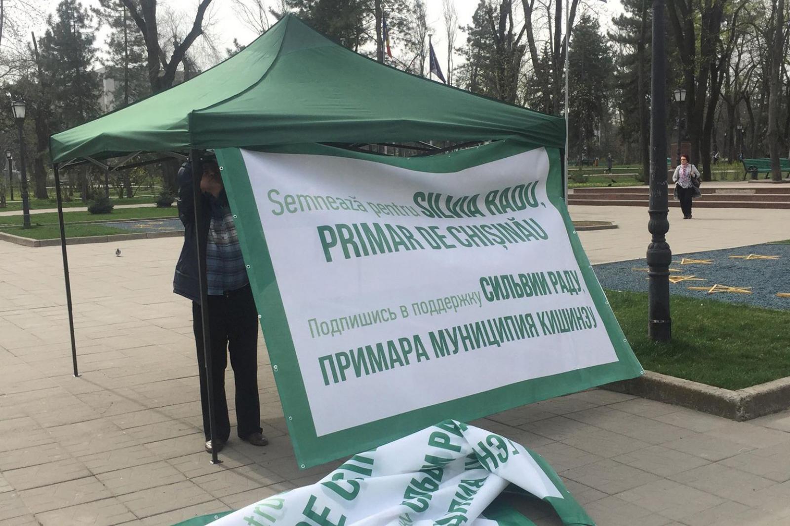 """(foto) """"Verde"""" pentru Silvia Radu: În capitală au apărut corturile pentru colectarea de semnături în favoarea primarului interimar"""