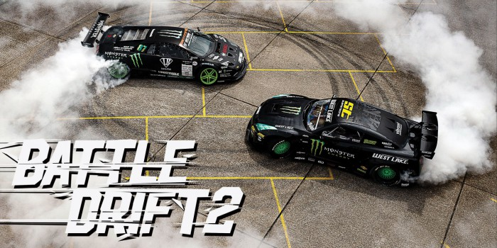 (video) BattleDrift 2: Trei maşini cu un total de 2636 de CP fac spectacol într-un port