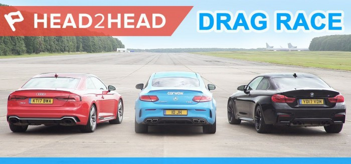 (video) Drag race: Care e mai rapid dintre un Audi RS 5, BMW M4 şi Mercedes-AMG C 63 S