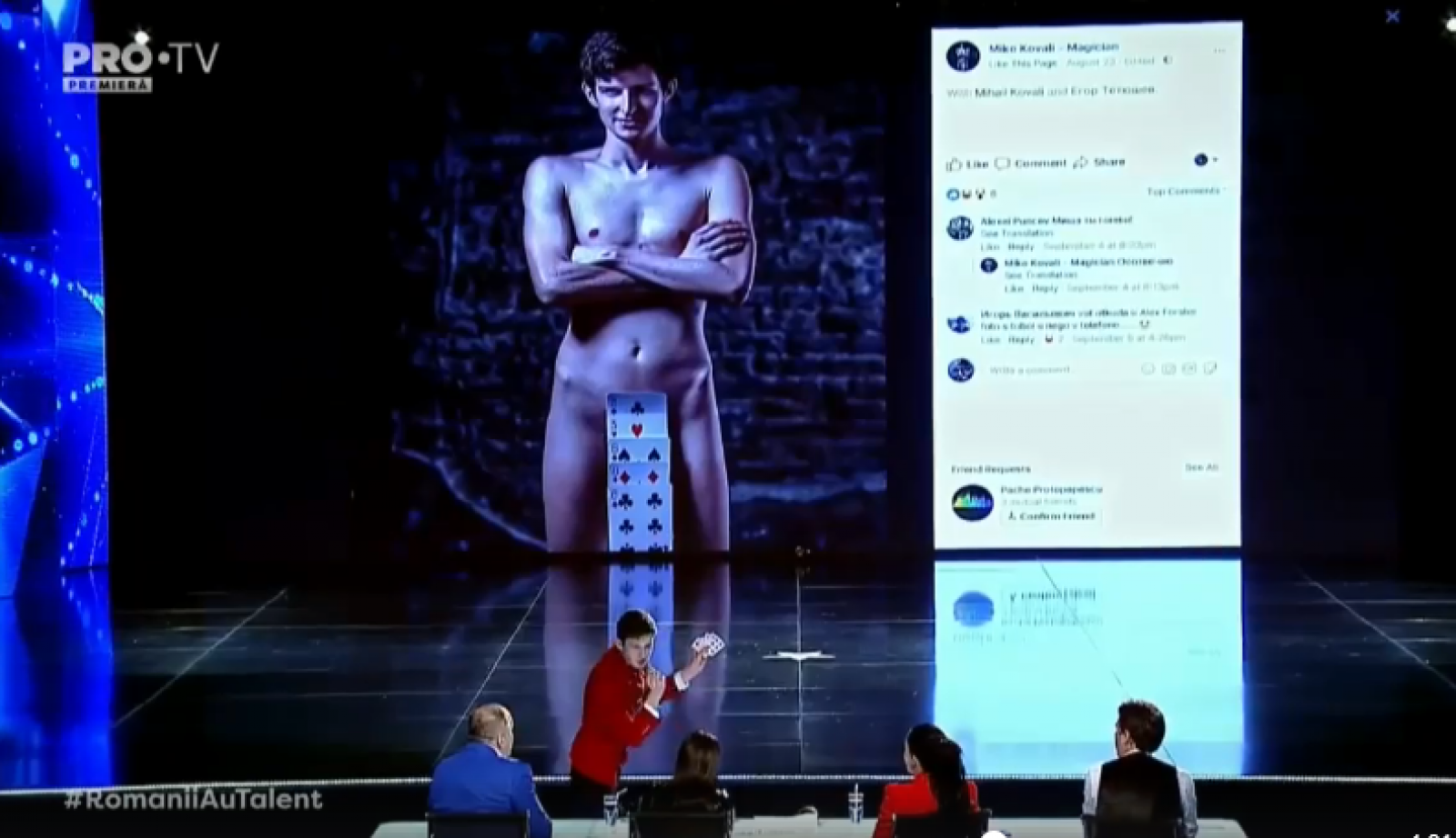 """(video) Număr de magie care i-a lăsat mască pe jurații de la """"Românii au talent"""". Un tânăr din Ungheni a ridicat sala în picioare"""