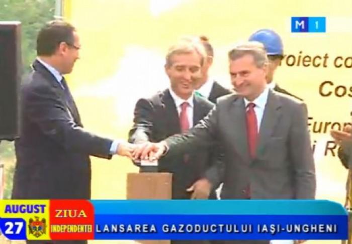 Leancă, Ponta și Oettinger au apăsat pe buton: Start construcției gazoductului Iași-Ungheni