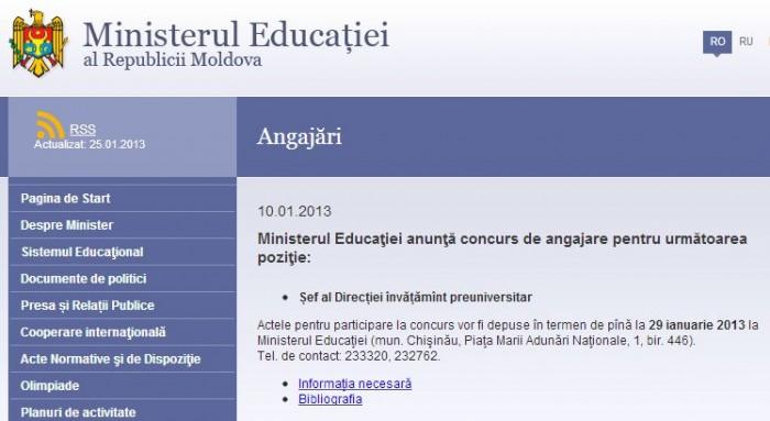 Ministerul Educației caută un înlocuitor pentru Crudu