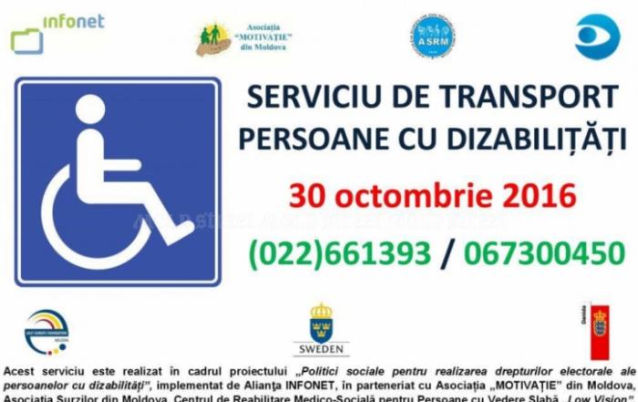 Taxi social – transport gratuit pentru persoanele cu dizabilități locomotorii în ziua scrutinului electoral