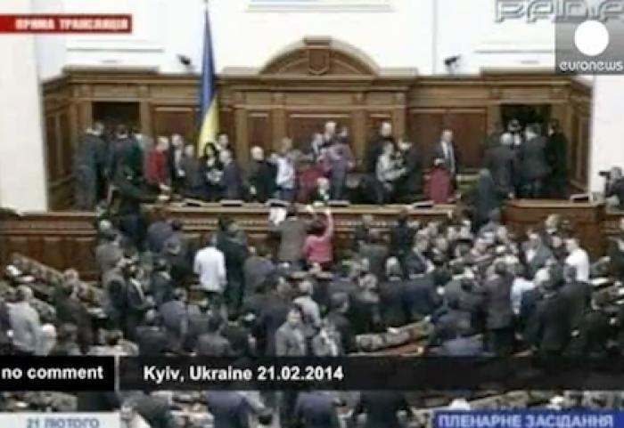 (video) Bătaie în Rada de la Kiev în această dimineață