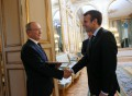 Președintele Franței, Emmanuel Macron, de vorbă cu ambasadorul Republicii Moldova la Paris, Emil Druc