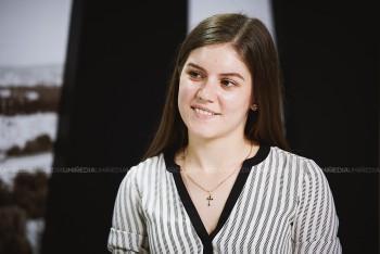 Olga Cortac în studioul UNIMEDIA