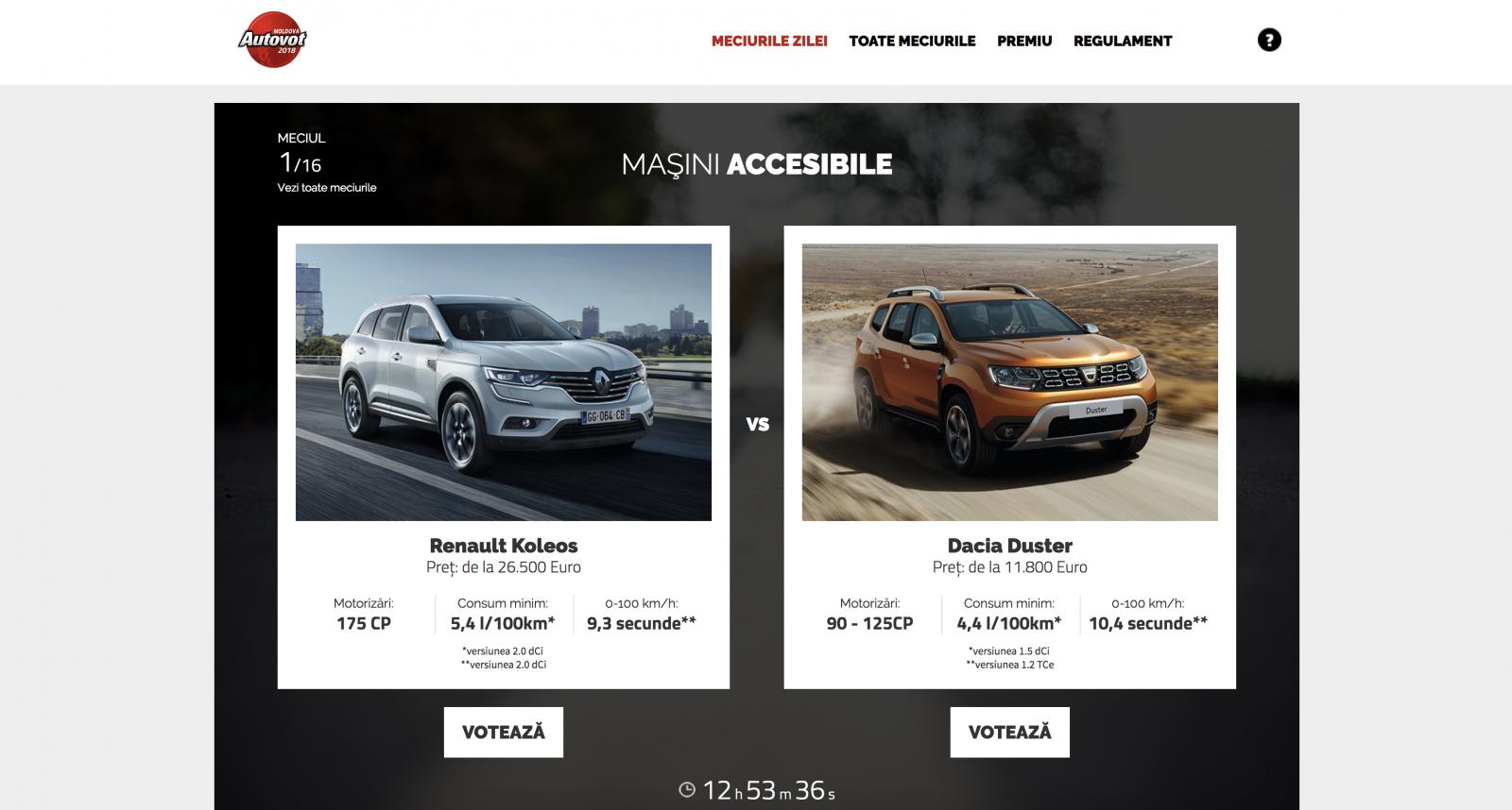 A început AUTOVOT MOLDOVA 2018! Duelul de astăzi: Renault Koleos vs Dacia Duster!