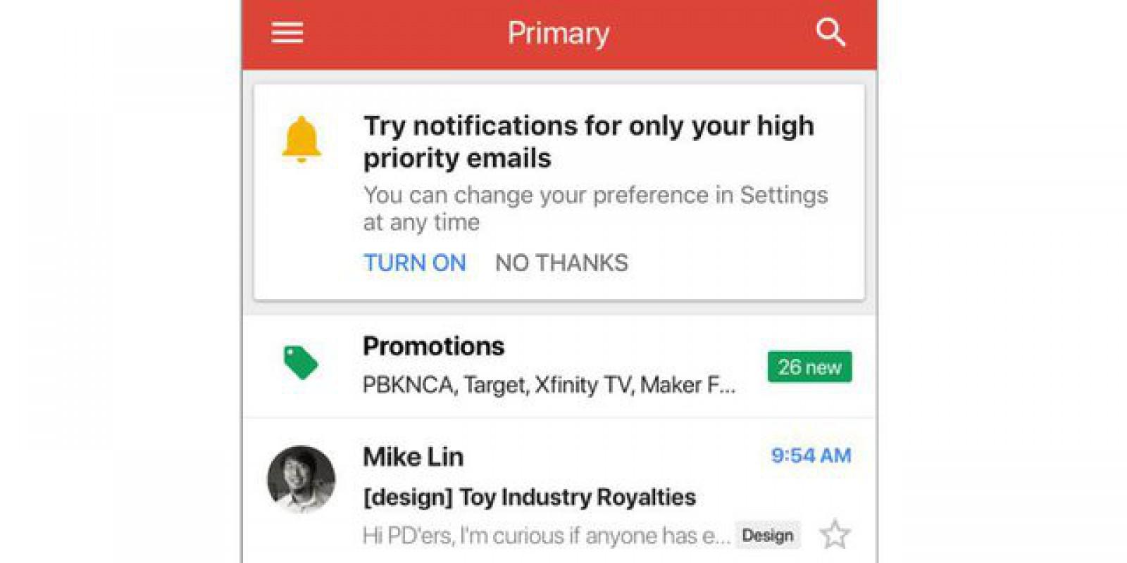 Aplicaţia Gmail pentru iOS primeşte opţiune pentru anunţarea selectivă a mesajelor primite, în funcţie de importanţa acestora