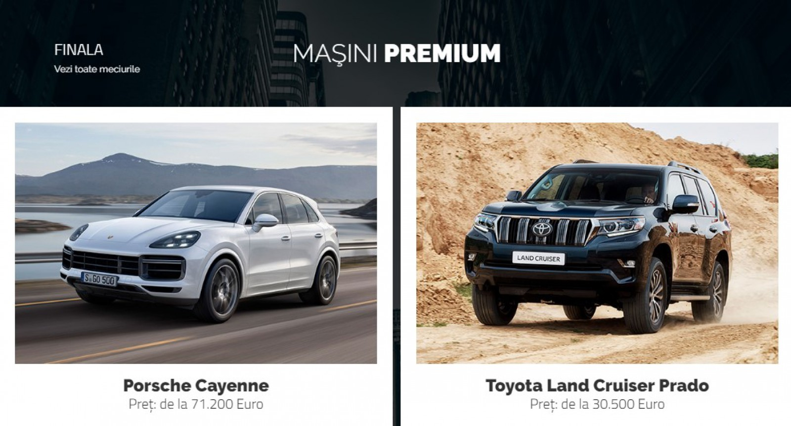 AUTOVOT MOLDOVA 2018! Finala mică din categoria Maşini Premium: Porsche Cayenne vs Toyota LC Prado!
