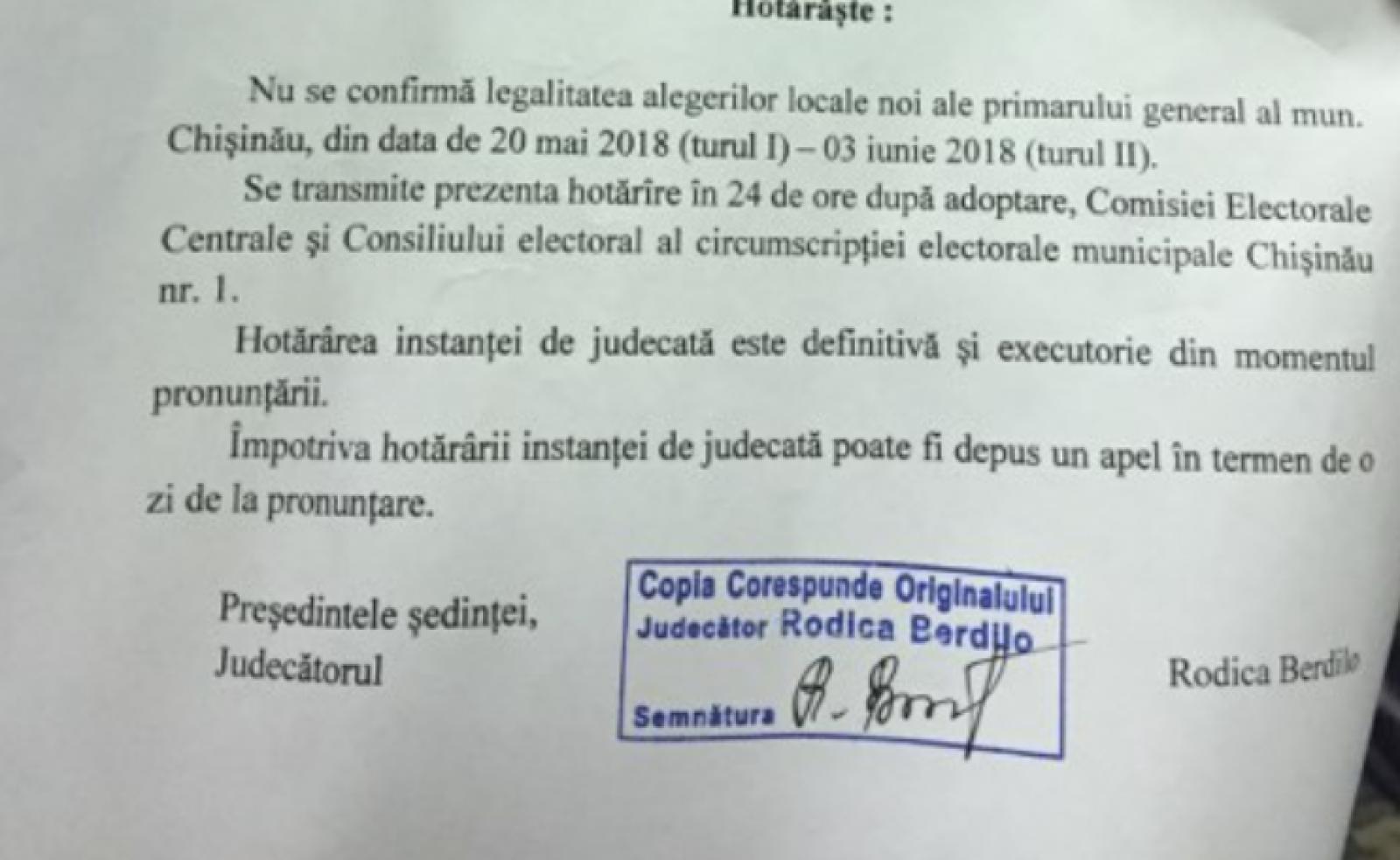 (doc) Cum arată și ce scrie în decizia instanței privind nevalidarea alegerilor locale
