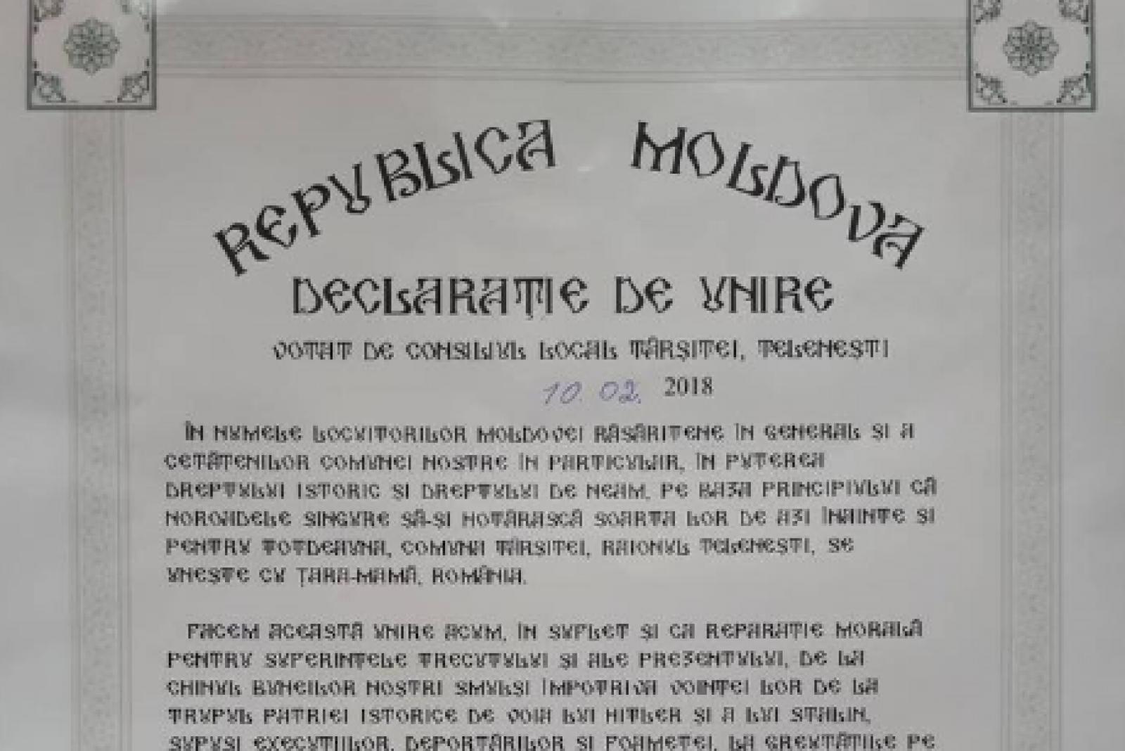 (foto) Încă o localitate din Republica Moldova a semnat declarația simbolică de Unire. Tîrșiței este cea de-a 17-a
