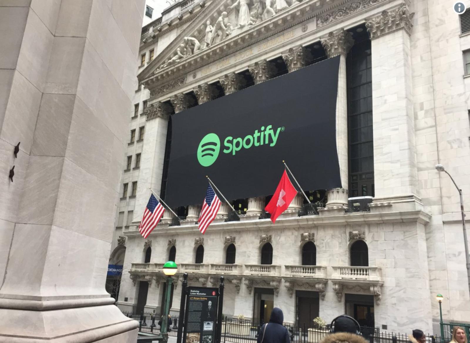 (foto) Bursa de valori din New York a prezentat din greșeală compania suedeză Spotify sub steagul Elveției