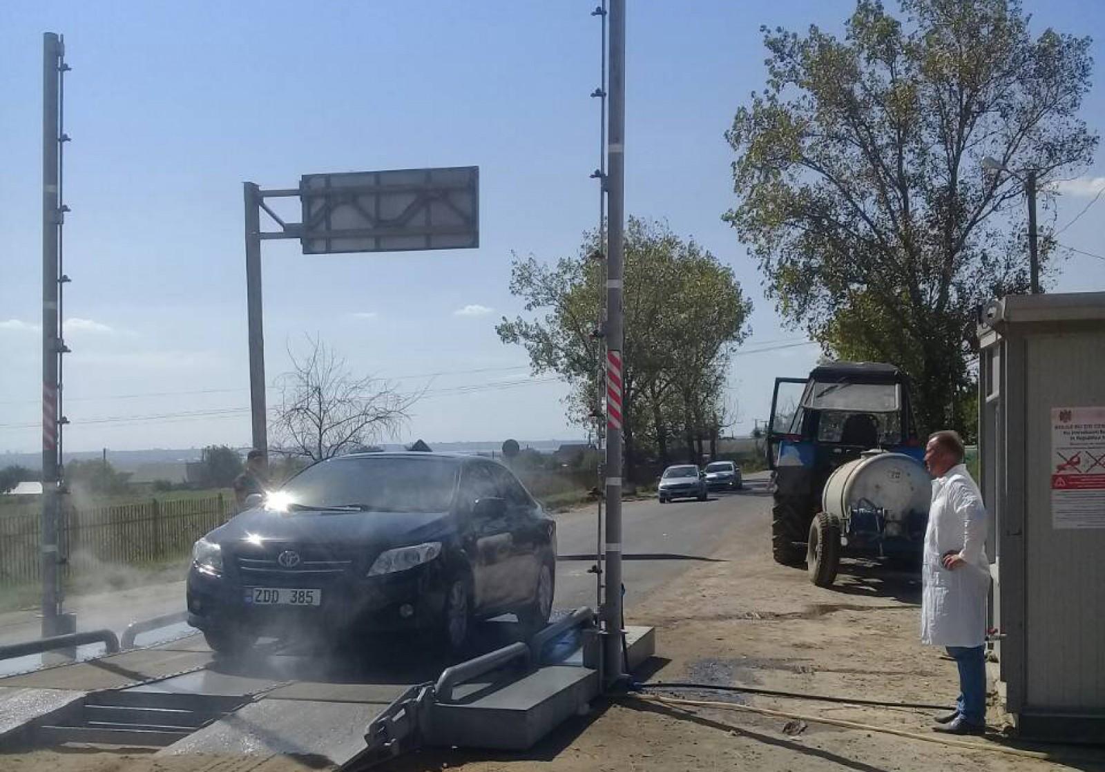 (foto) Măsuri de combatere a pestei porcine: La intrarea în satul Giurgiulești toate automobilele sunt dezinfectate