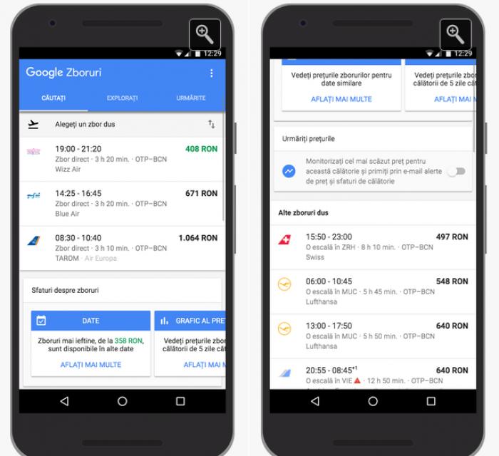 Google lansează serviciile Zboruri şi Destinaţii în România
