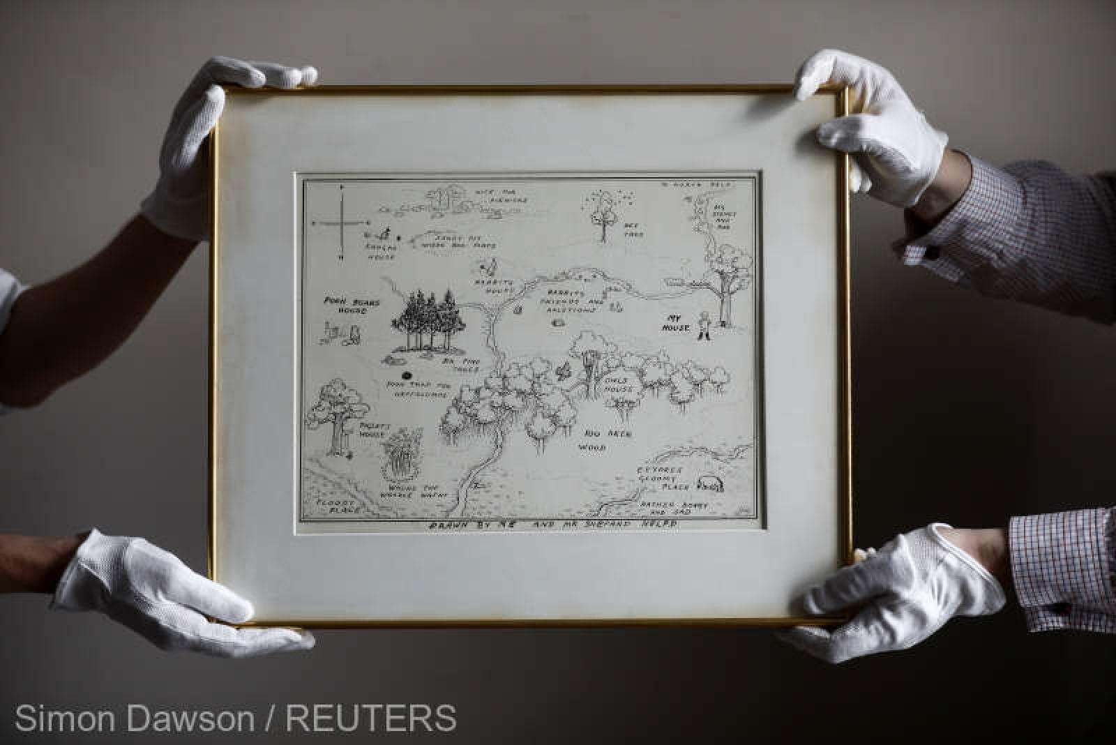 Harta originală din seria de povestiri cu Winnie-the-Pooh, scoasă la licitație