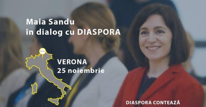 """""""Maia Sandu - în dialog cu diaspora la Verona"""". Președinta PAS invită moldovenii din Italia la discuție"""