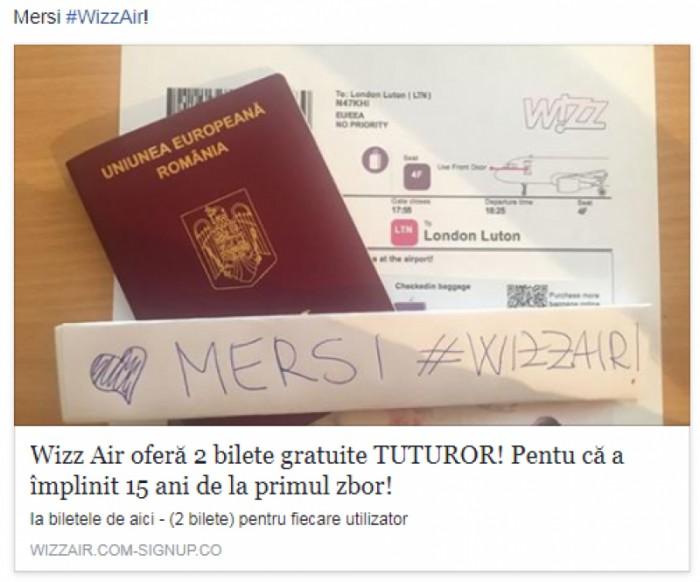 Mii de oameni au rămas fără bani pe card, după ce au distribuit presupusul anunț al companiei Wizz Air