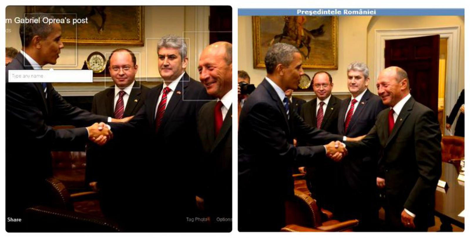 Un fost vicepremier român a modificat o poză în care Obama dă mâna cu Băsescu, pentru a părea că ex-președintele SUA îl salută pe el