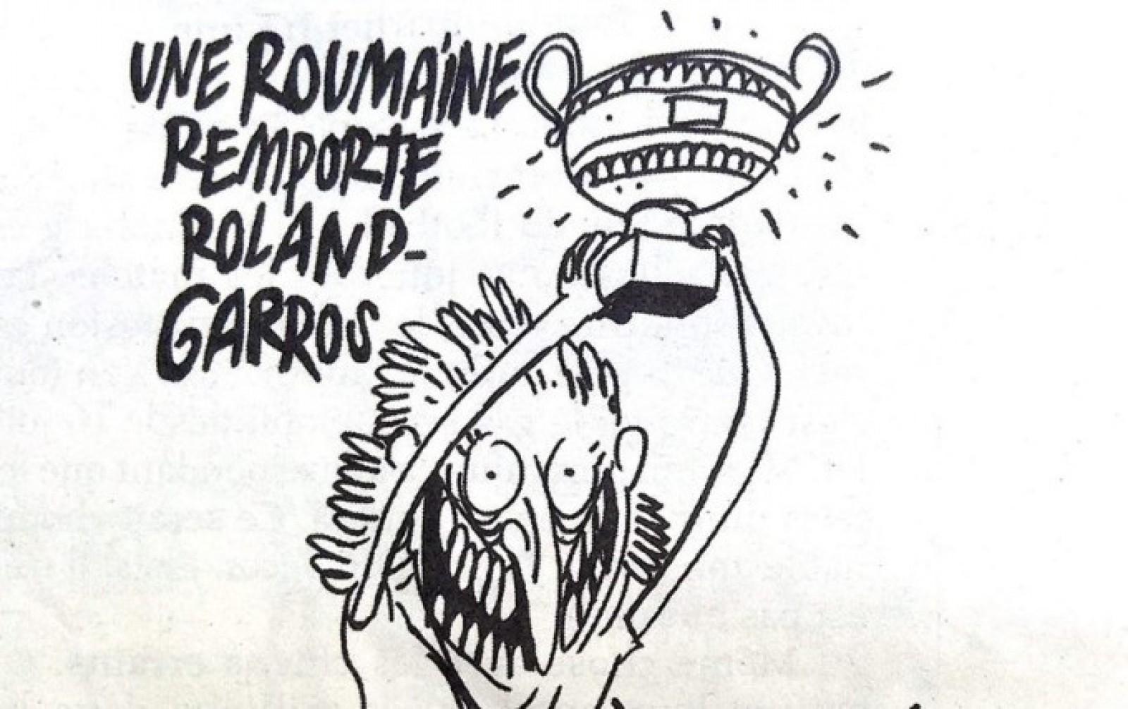 """Victoria Simonei Halep, ironizată de revista franceză Charlie Hebdo: """"Fier vechi! Fier vechi"""""""