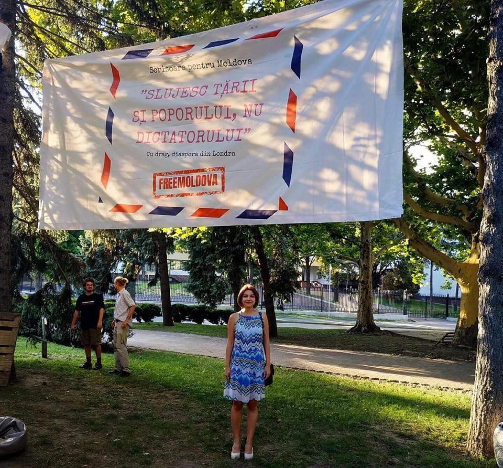 """(video/update) Nu va sta mult: Poliția cere ca panoul diasporei din Grădina Publică """"Ștefan cel Mare și Sfânt"""" să fie scos"""