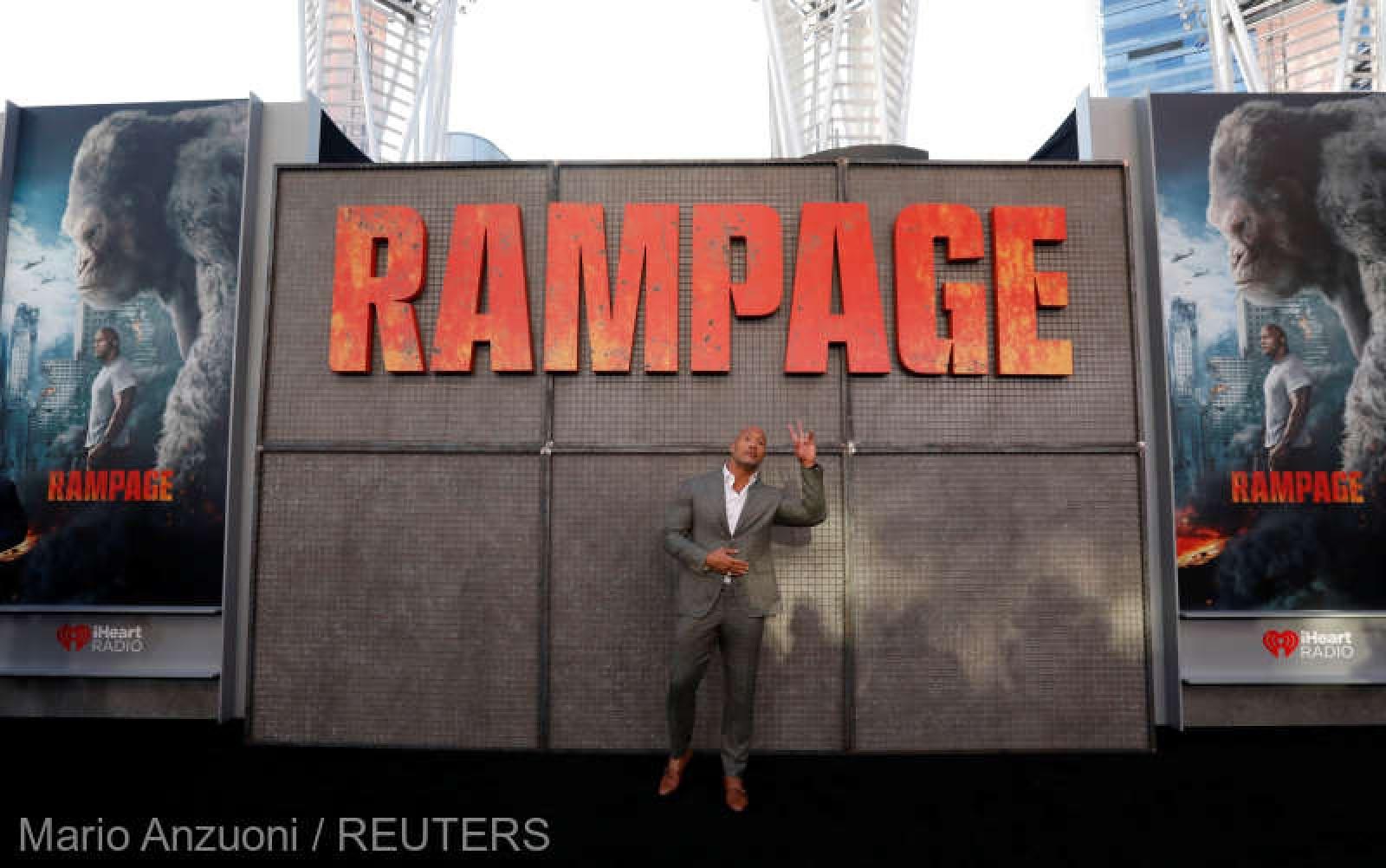 """(video) Filmul """"Rampage"""" a debutat pe primul loc în box office-ul nord-american"""