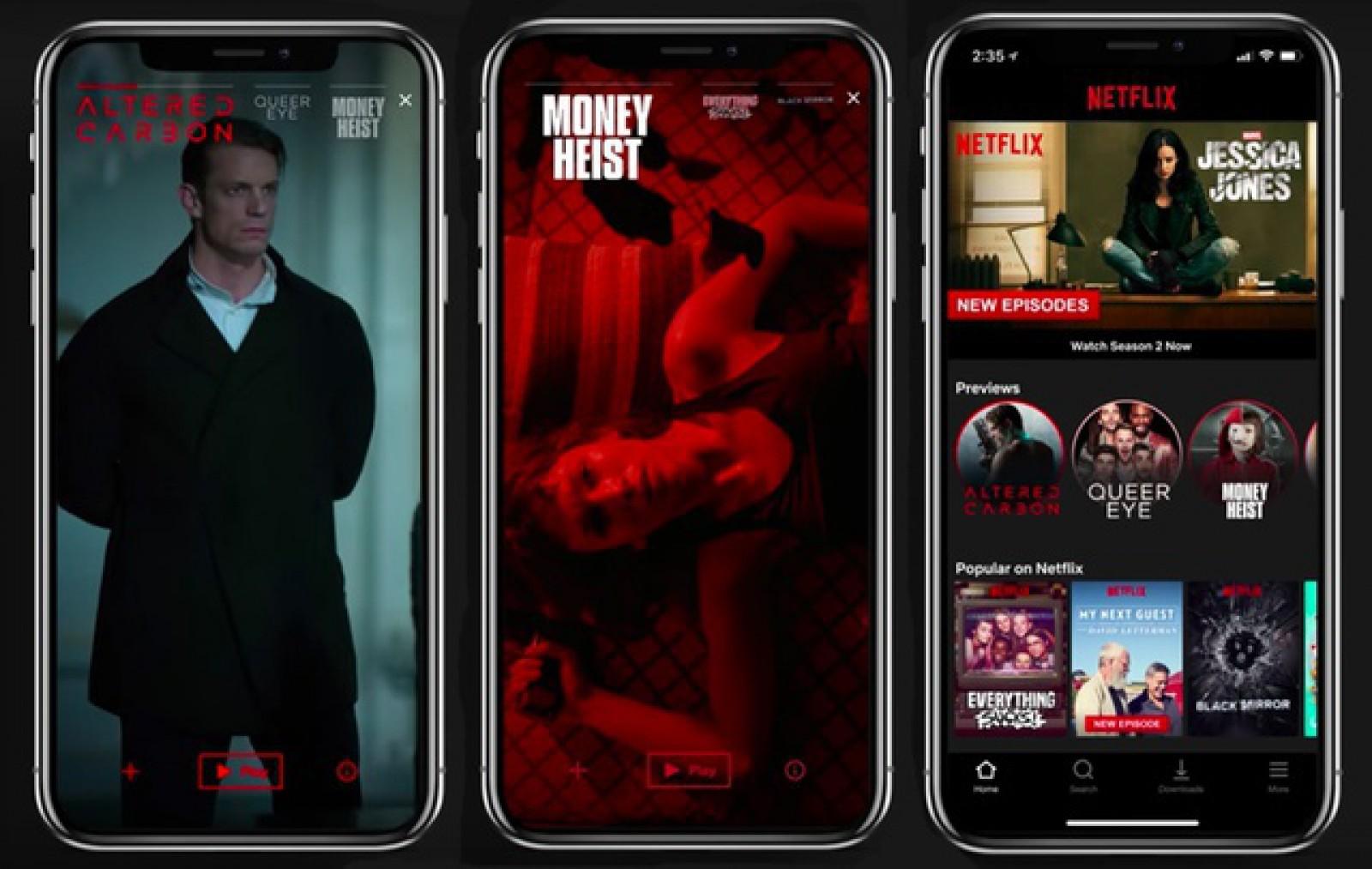 """(video) Netflix integrează conceptul de """"Stories"""" în aplicaţia de mobil pentru afişarea de trailere"""