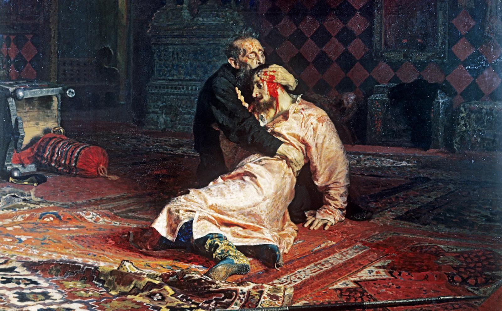 """(video) Un bărbat a deteriorat tabloul """"Ivan cel Groaznic și fiul său"""", din Galeria Tretiakov"""