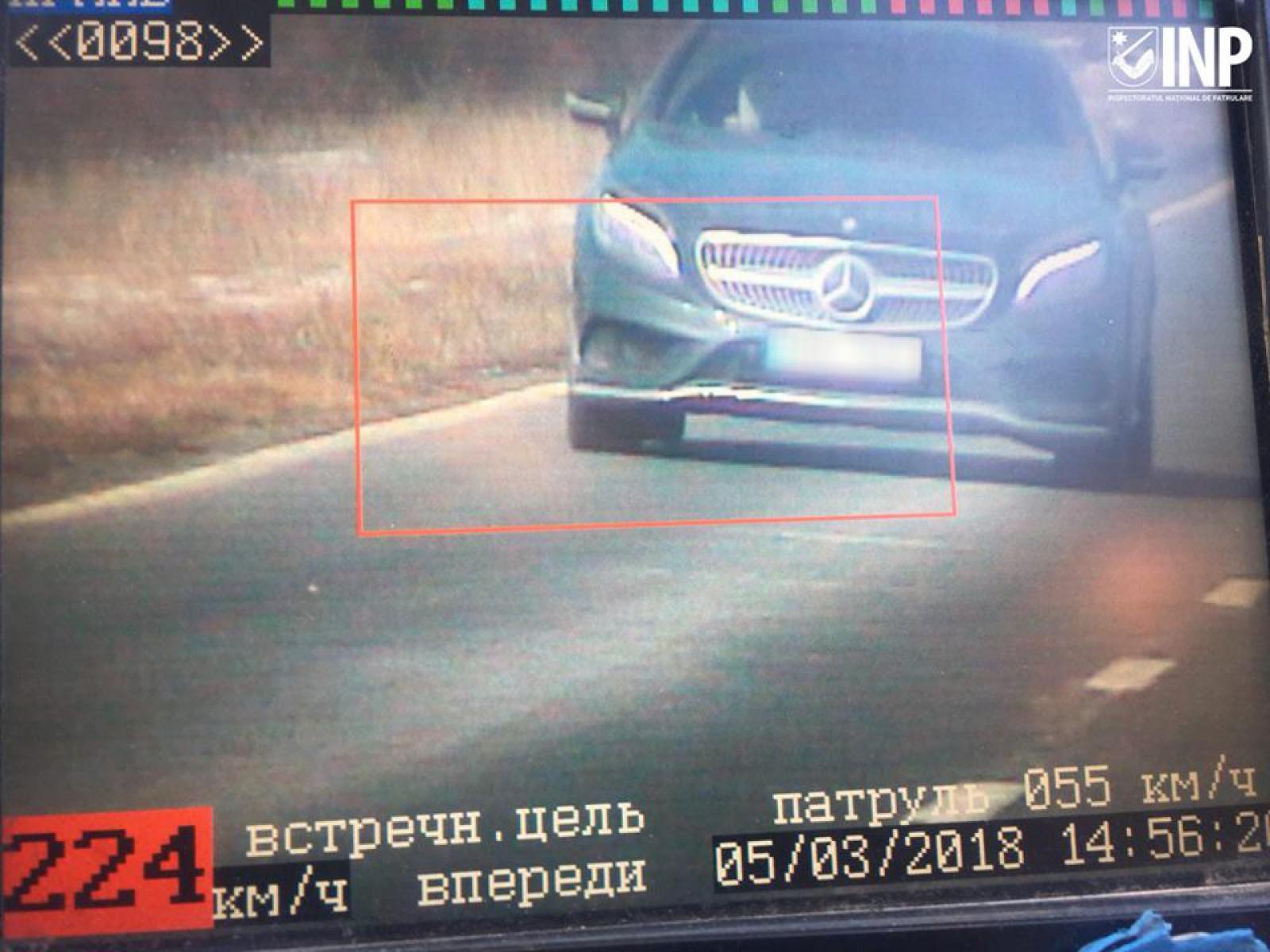 Viteză record pe traseul Chișinău-Leușeni. Un tânăr din Lărguța a fost prins la radar cu 224 de km/h