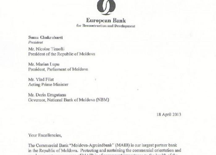 (doc) O scrisoare BERD anunță despre un nou ATAC în adresa MAIB