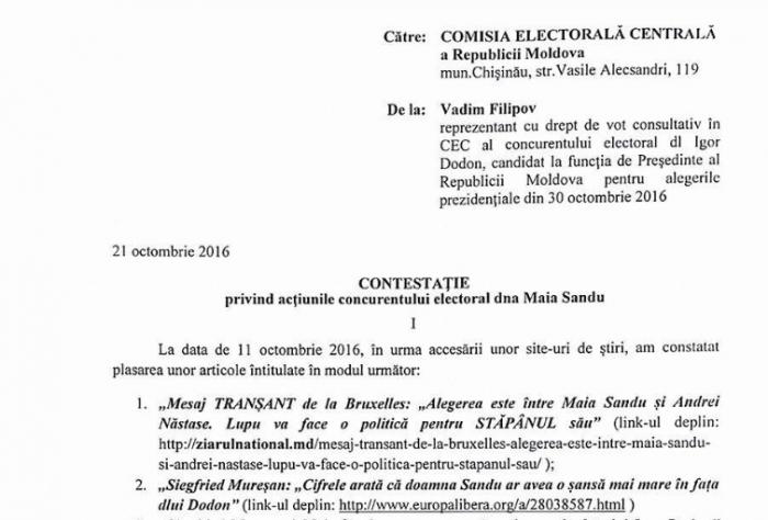 (doc) PSRM cere CEC-ului s-o avertizeze pe Maia Sandu: Face agitație electorală cu implicarea oficialilor europeni